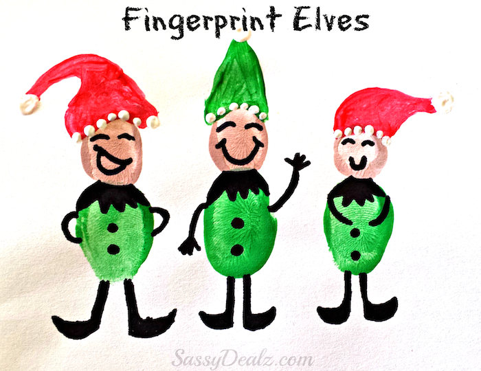 fingerprint elves made with red and green paint, black marker, christmas activities for preschoolers
