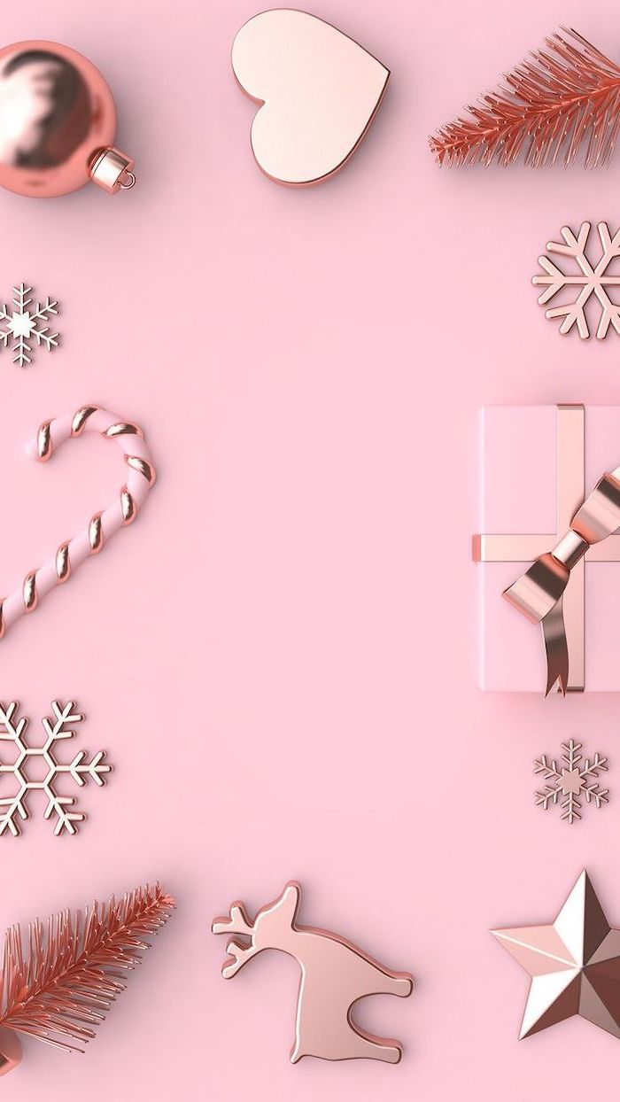 pink aesthetic, free wallpapers and backgrounds, rose gold baubles stars and snowflakes, present wrapped in pink