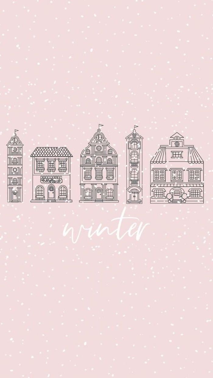 pink background with white dots, free wallpapers and backgrounds, five different buildings drawn on it, winter written underneath