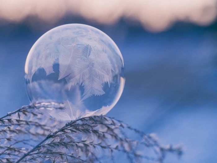 frozen bubble, sitting on a tree branch, winter background, snowflakes in the ice, blurred background