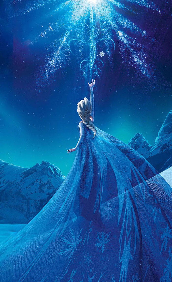 wallpapers and backgrounds, elsa character from frozen, dressed in blue dress, shooting snowflakes to the sky