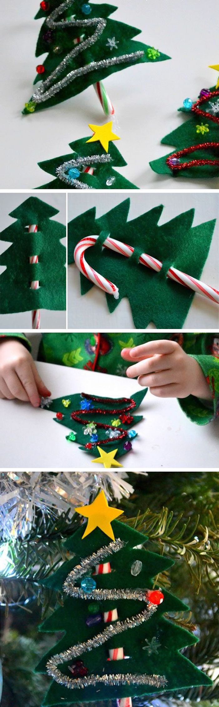 photo collage of step by step diy tutorial, christmas tree made of felt, christmas craft ideas for kids, candy cane on the back
