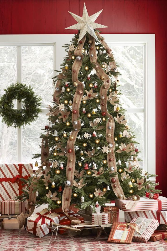 Gold Ribbon On Green Christmas Tree Novocom Top