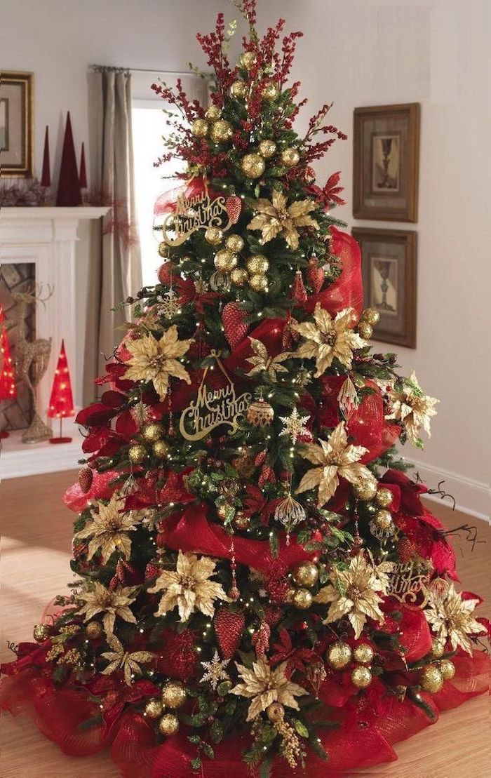 tree decorated with red ribbon, rustic christmas tree, gold faux flowers, merry christmas signs, placed on red ribbons