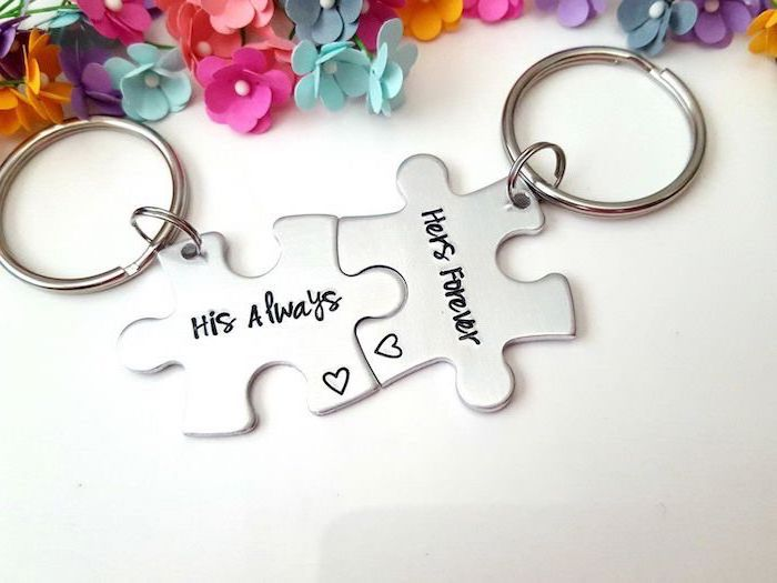 his always hers forever, matching metal jig saw puzzle keychains, placed on white surface, christmas gift ideas for boyfriend