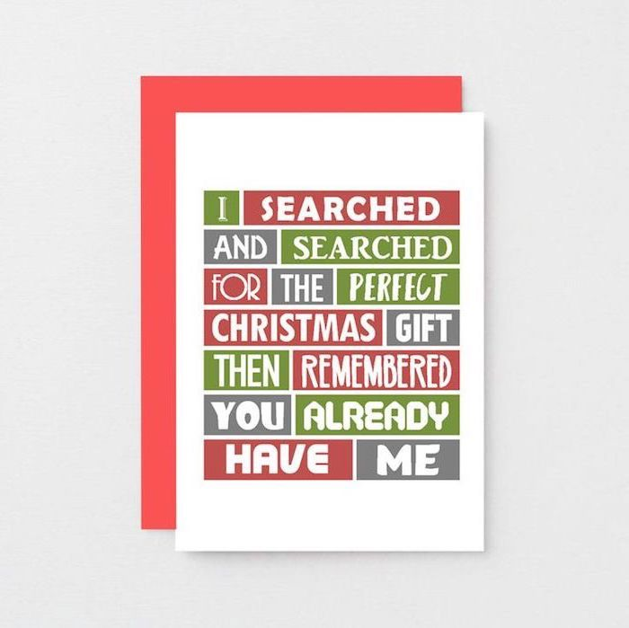i searched and searched for the perfect gift christmas card, unique gifts for men, red envelope, placed on white surface