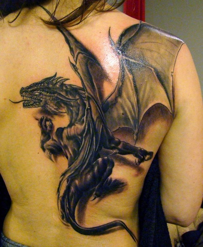 large back tattoo, drogon from game of thrones, dragon sleeve tattoo, woman with black hair