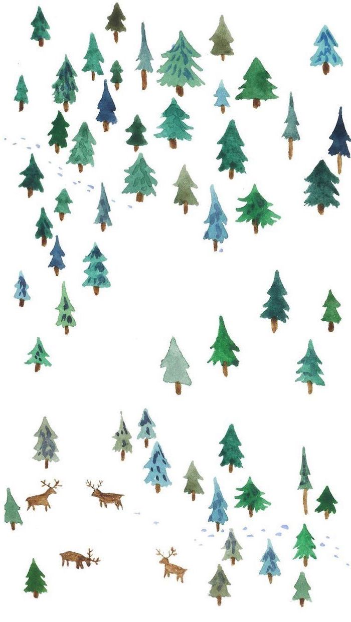 lots of small trees and deer, painted on white background, screen saver wallpaper, green blue and brown colors