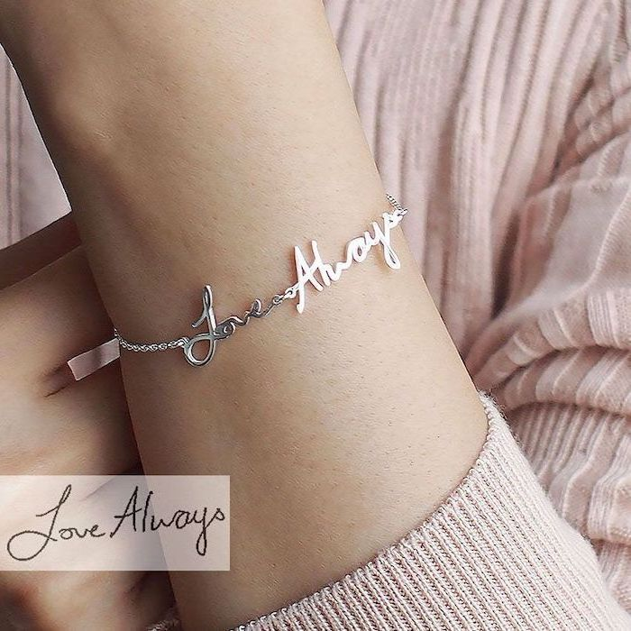 woman wearing a pink sweater, love always silver bracelet, christmas gifts for mom from daughter