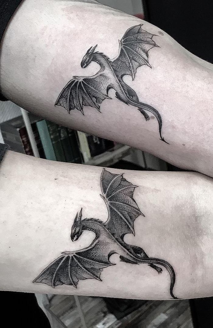 flying dragons, matching inside arm tattoos, dragon sleeve tattoo
