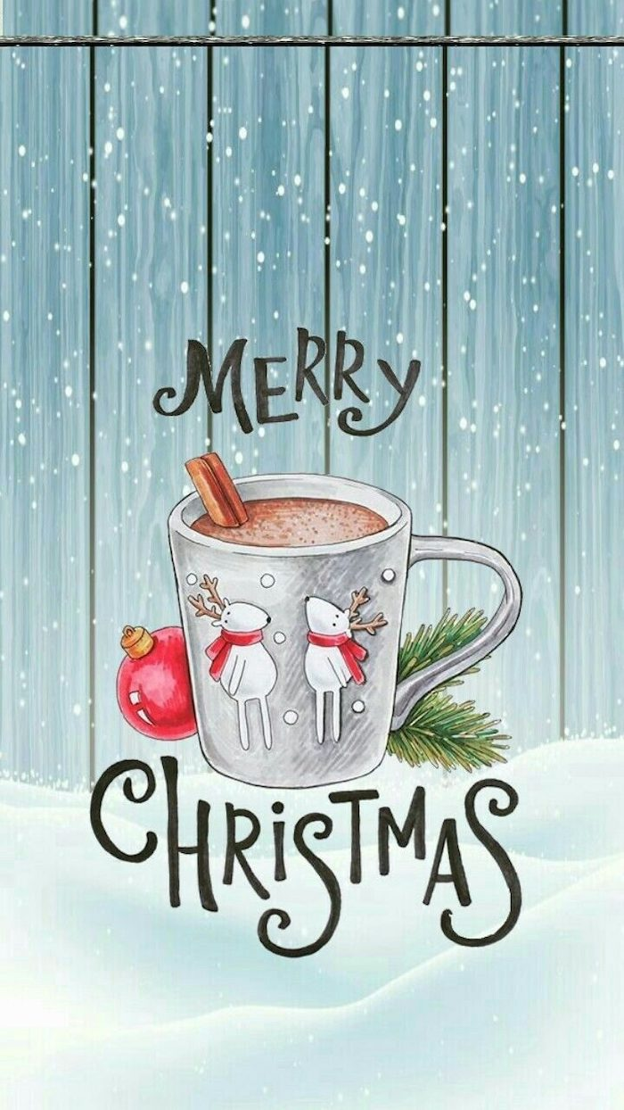 merry christmas, written over a coffee mug, free desktop backgrounds, painting of snow falling, coffee mug with two reindeer
