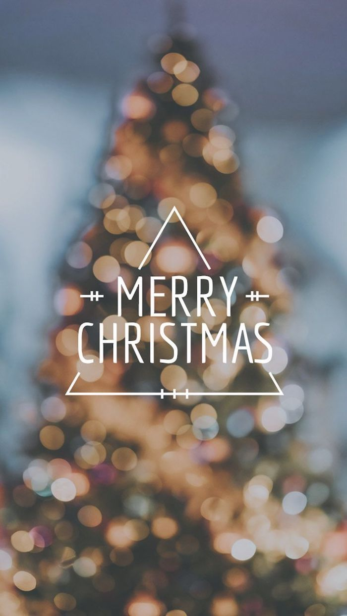 merry christmas written over blurred background, wallpapers and backgrounds, decorated christmas tree with lights