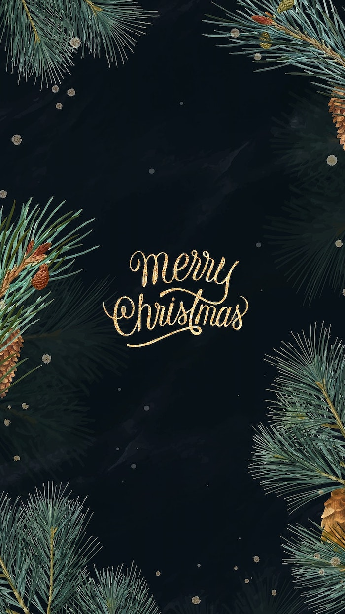 merry christmas written over black background, free desktop backgrounds, tree branches around it