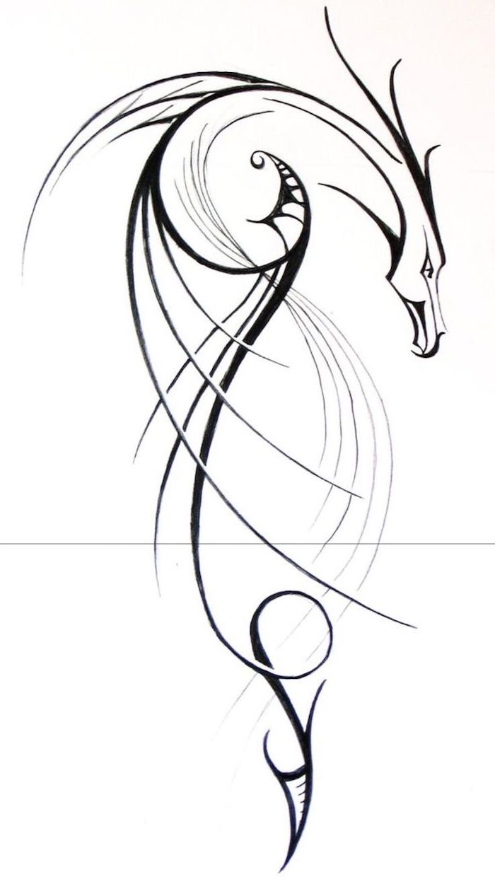 minimalist dragon tattoo design, black and white pencil sketch, what does a dragon symbolize, white background