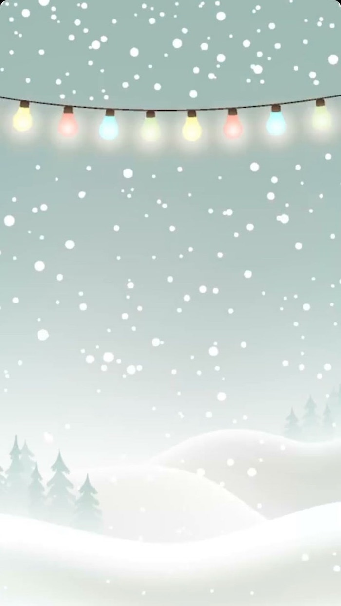 painting of snow falling over mountain, string of lights on top, free desktop backgrounds