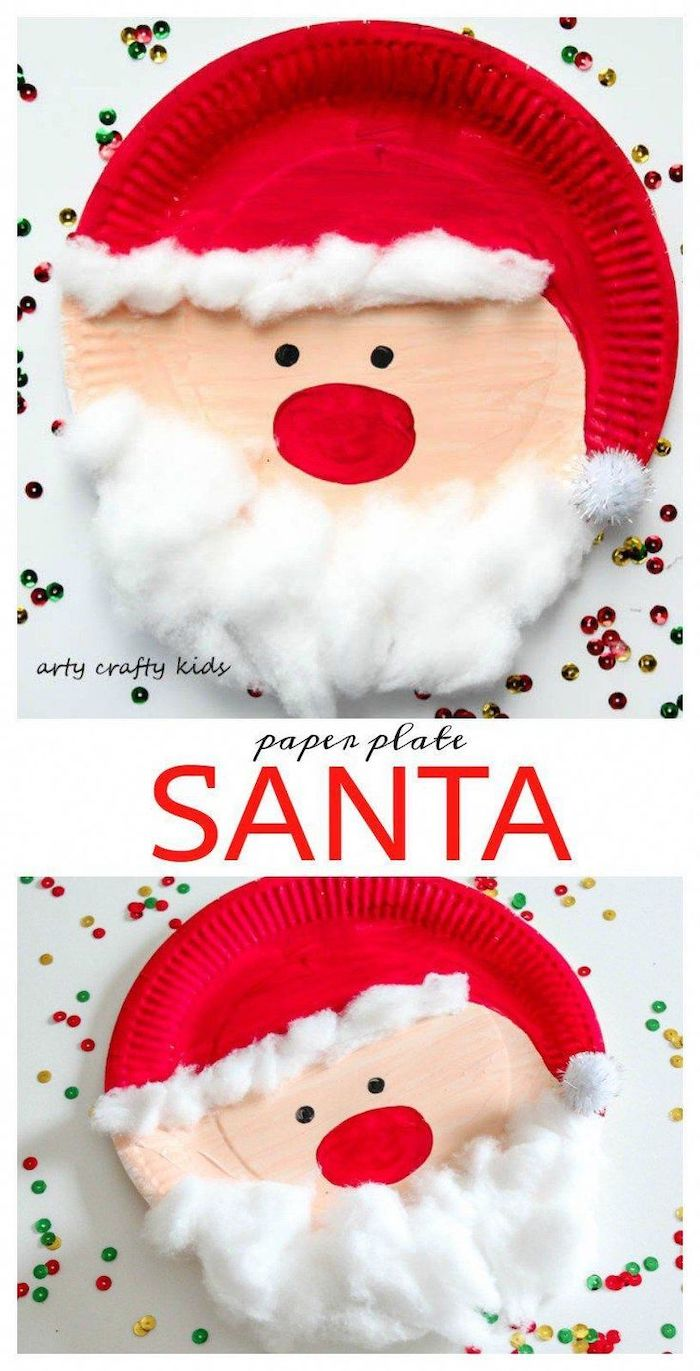 paper plate santa, step by step diy tutorial, diy christmas crafts, painted in red with cotton balls for beard
