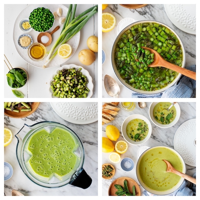 peas and leeks soup, cream of chicken soup recipe, photo collage, step by step diy tutorial, marble countertop
