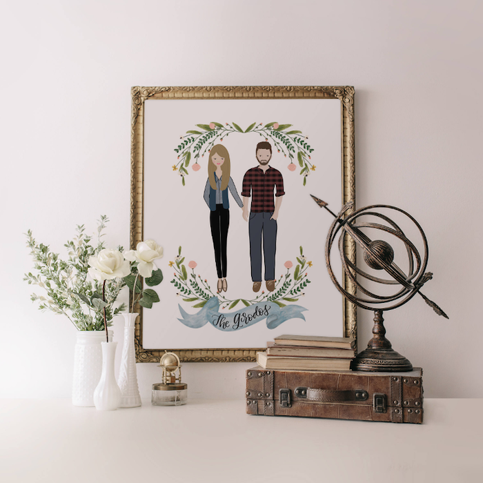 personalised portrait of couple, inside a golden frame, good gifts for boyfriend, mounted on white wall