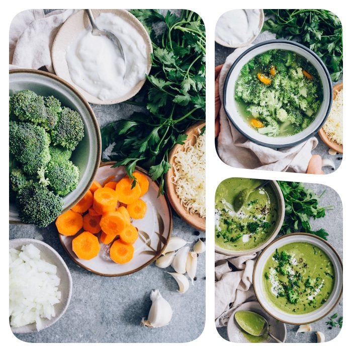photo collage, broccoli soup, cream of mushroom soup recipe, bowls full of carrots and broccoli, yoghurt and onion