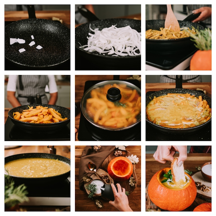 photo collage, how to make a pumpkin soup, step by step diy tutorial, creamy soup recipes