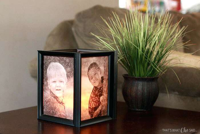 step by step diy tutorial, picture frame luminaries, with children's photos, placed on wooden table, gifts for mom from daughter