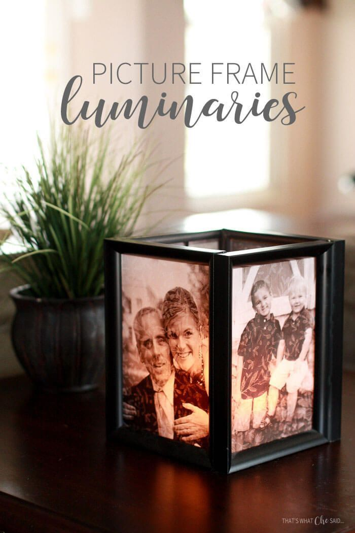 picture frame luminaries, step by step diy tutorial, gifts for mom from daughter, placed on a wooden side table