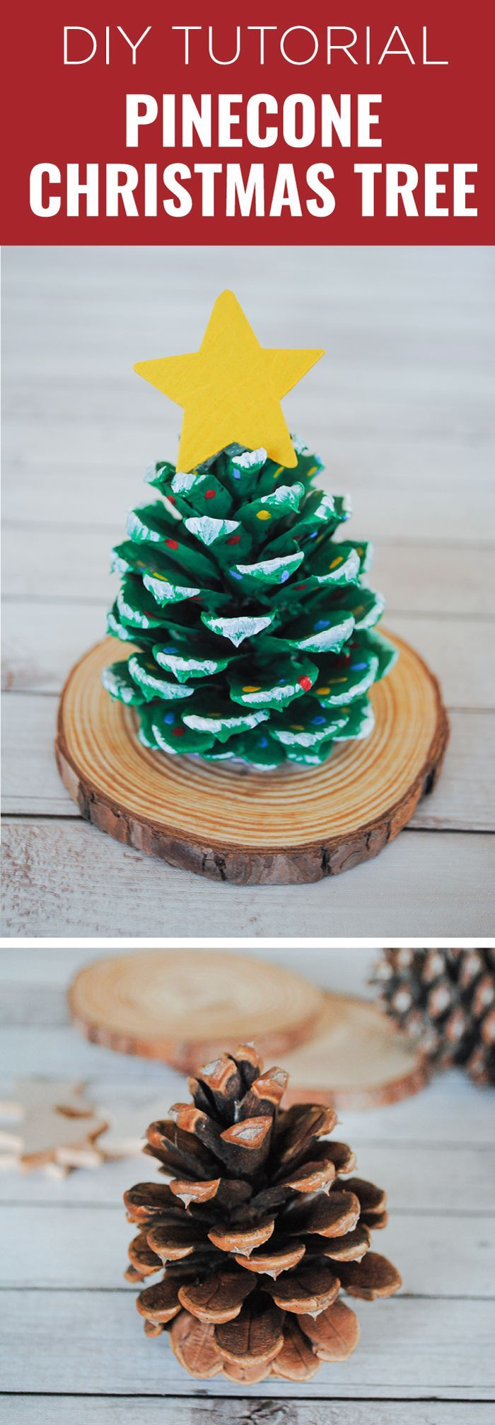 pinecone christmas tree, step by step diy tutorial, christmas arts and crafts, pinecone painted in green, placed on wooden log