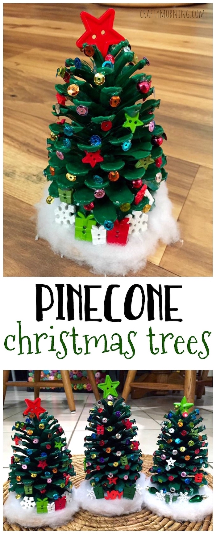 pinecone christmas trees, diy christmas ornaments for kids, pinecone painted green, beads glued to it