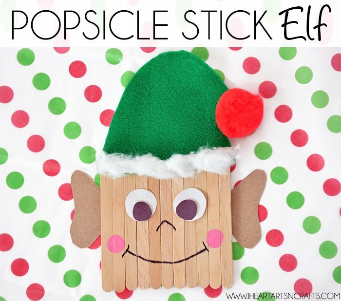 popsicle stick elf, step by step diy tutorial, christmas crafts for kids, green hat made of felt, placed on white sheet with red and green dots