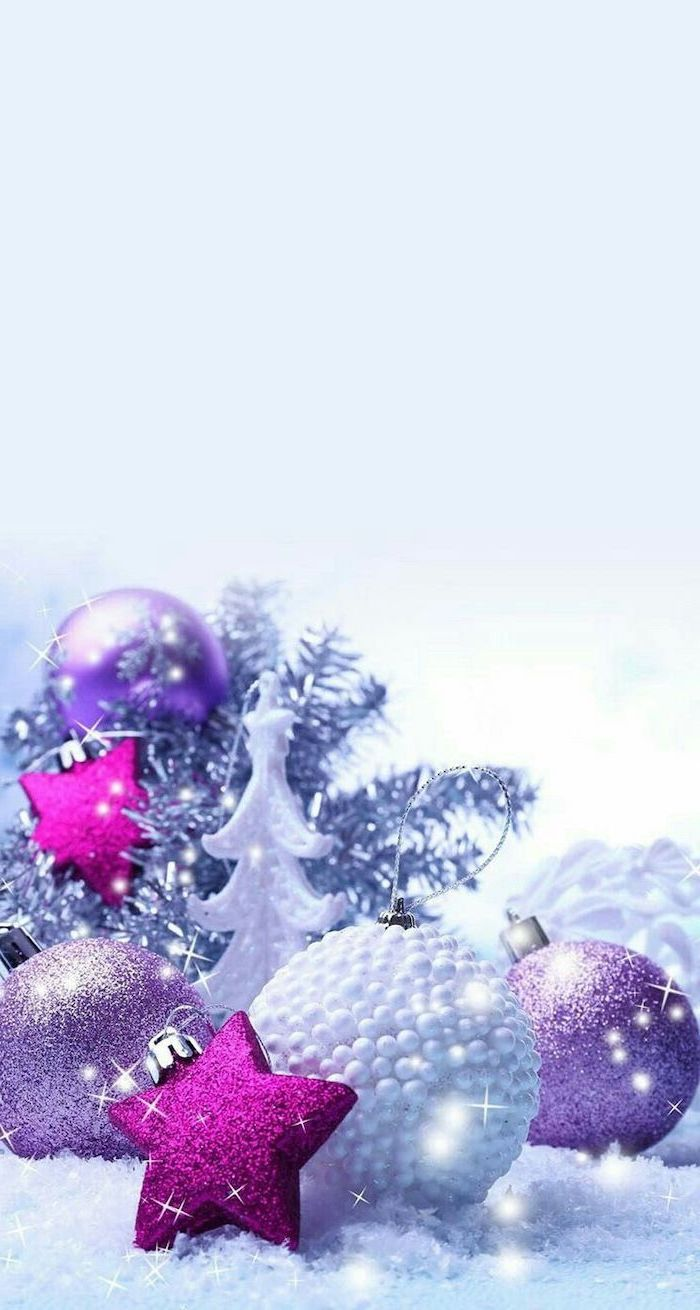 purple and pink baubles, arranged in snow, free desktop backgrounds, white background