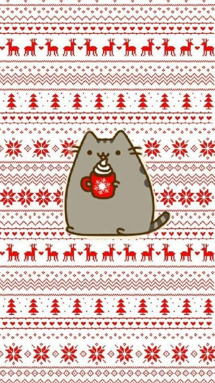 free wallpapers for android, pusheen cat holding hot chocolate, festive christmas background