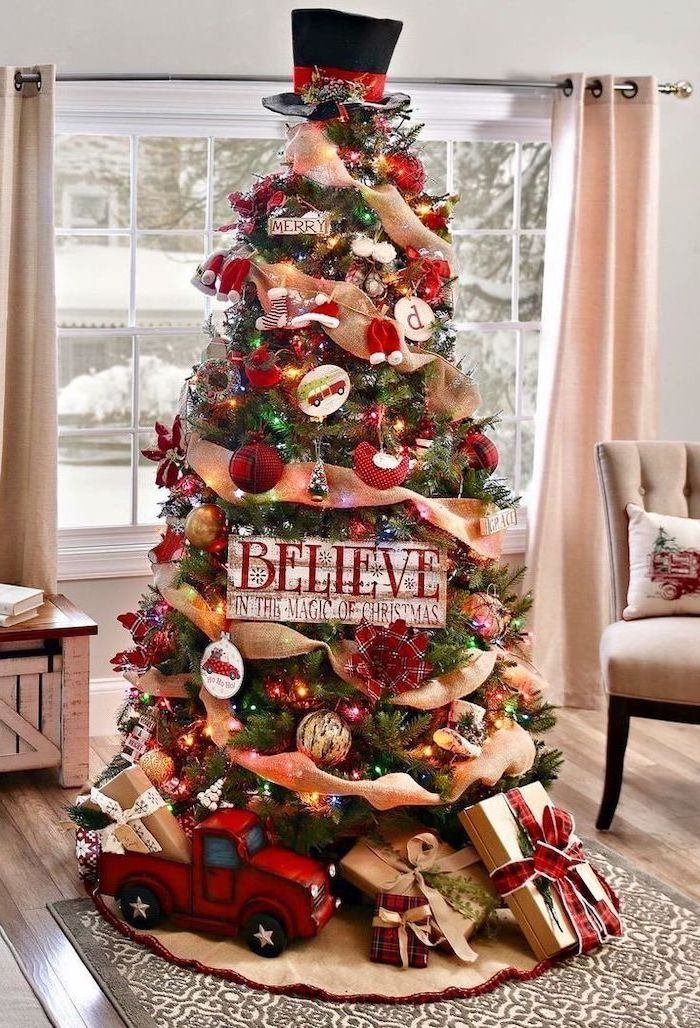 gold ribbon wrapped around a tree, red and gold ornaments, elegant christmas tree decorating ideas, wrapped presents underneath