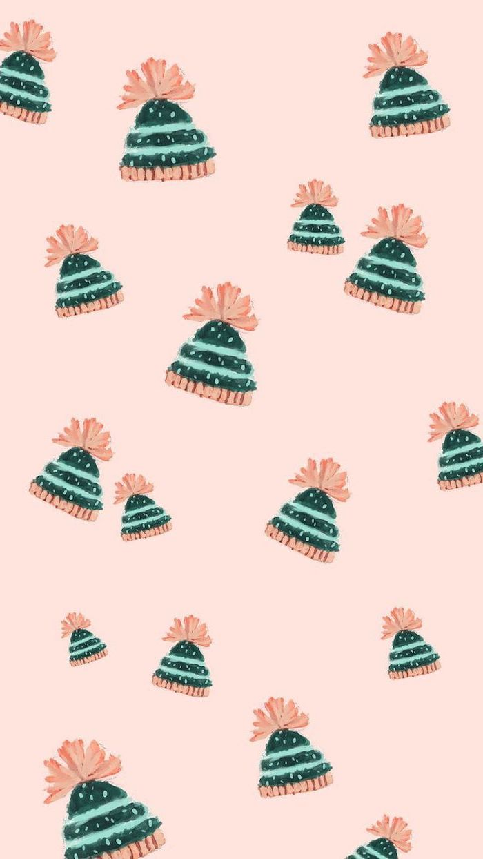 green and pink beanies, drawn on pink background, free wallpapers for android