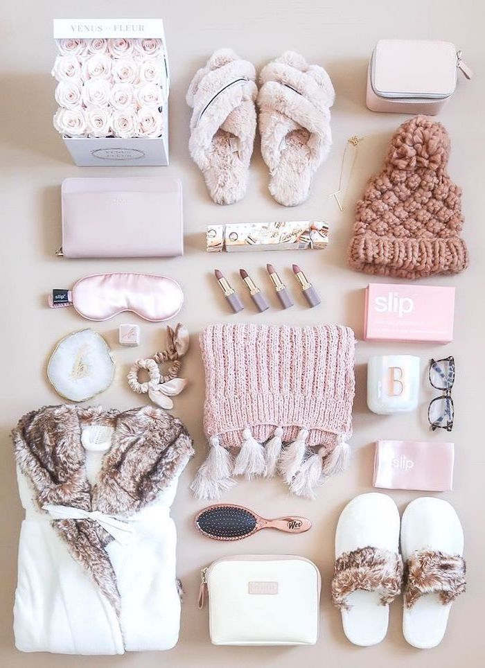 set of winter necessities, gifts for mom from son, everything in pink, cozy slippers robe scarf and beanie