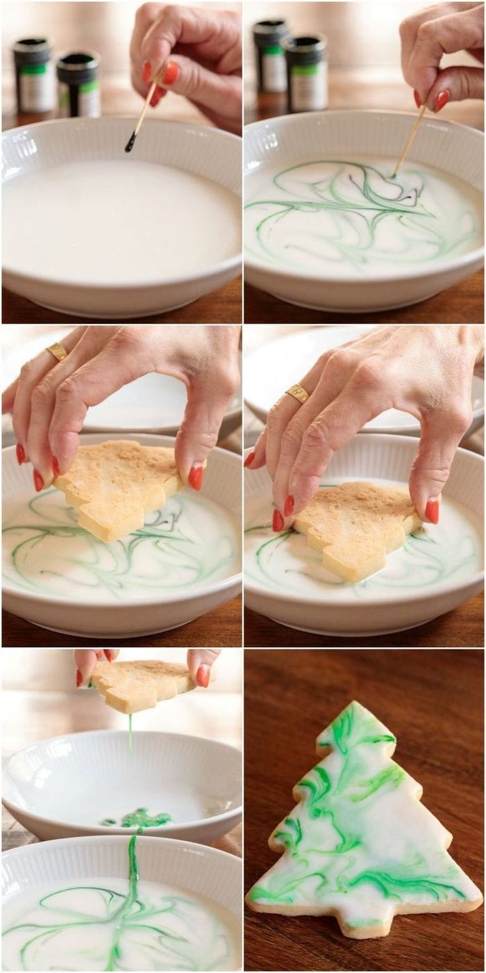 step by step diy tutorial, christmas tree shaped cookies, christmas cookie decorating ideas, white and green icing on top