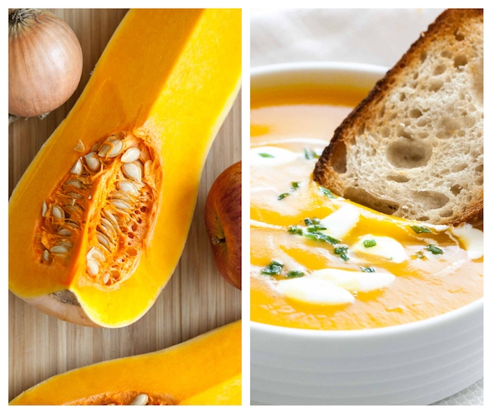 easy soup recipes, side by side photos, piece of butternut squash, cream soup with bread dipped in it