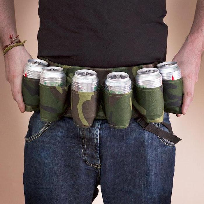 six pack camouflage beer belt, creative gifts for boyfriend, man wearing jeans and black t shirt