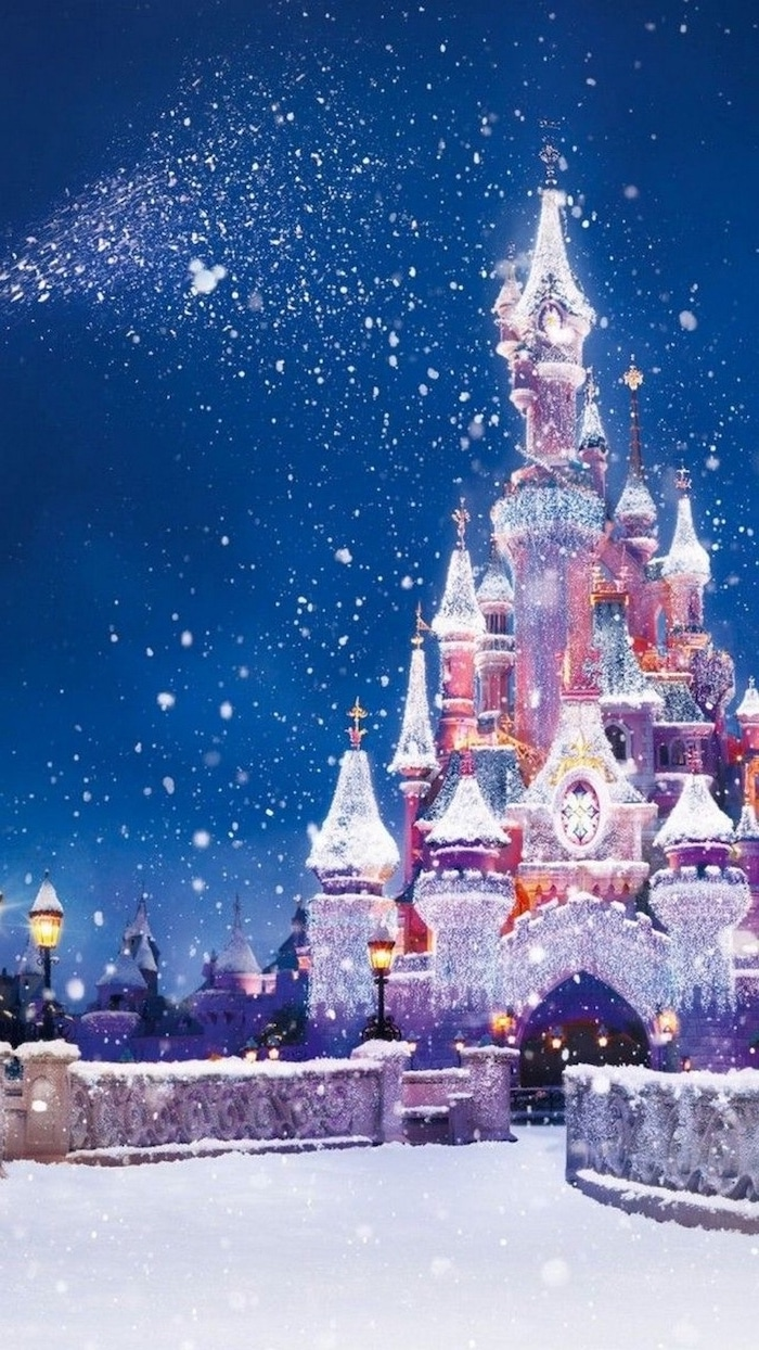 dinsey castle covered with lights, snow fallinf over it, winter wallpaper iphone, disney painting