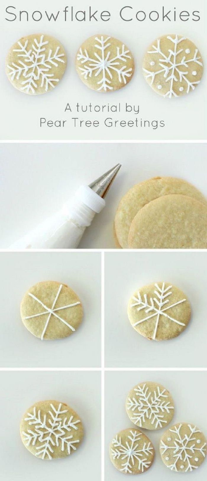 how to decorate snowflake cookies, step by step diy tutorial, royal icing christmas cookies, photo collage