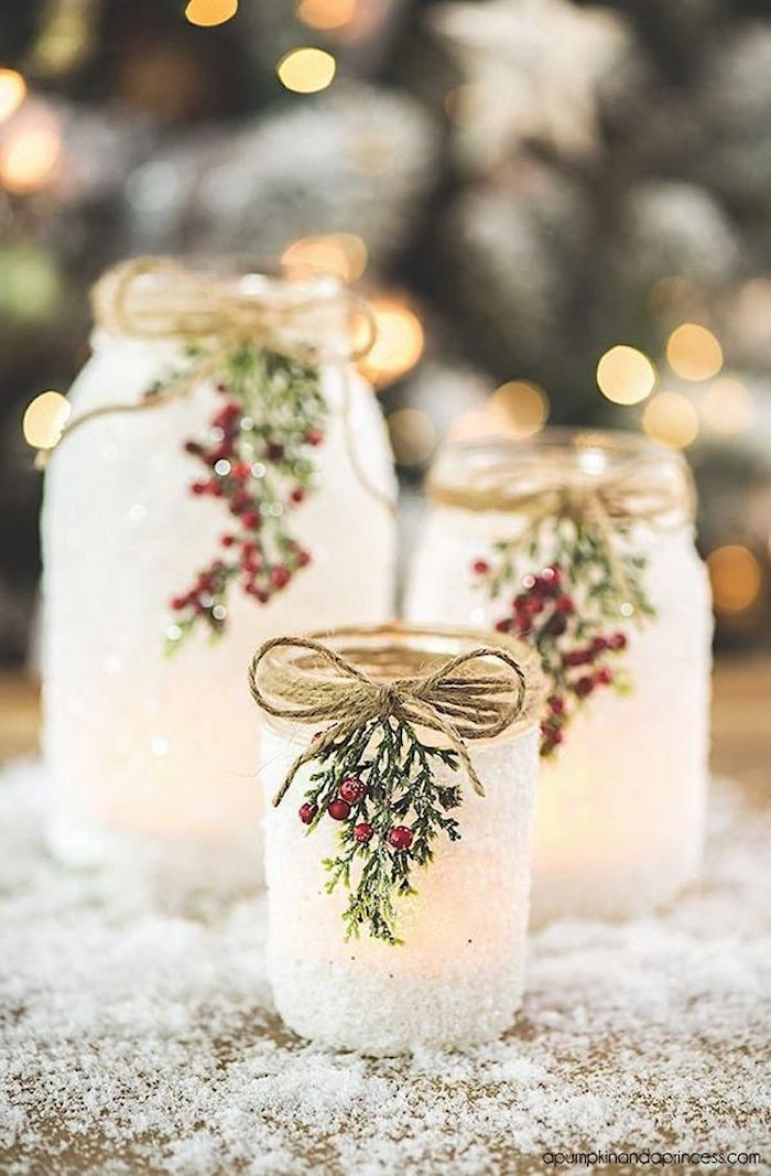 snowy candle mason jars, gifts for mom from daughter, decorated with berries and twig rope, step by step diy tutorial