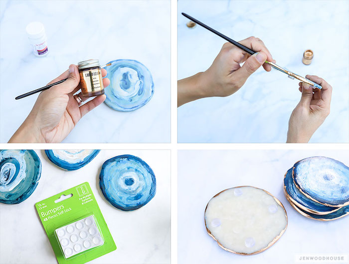 step by step diy tutorial, how to make agate coasters, gifts for mom, photo collage of the process