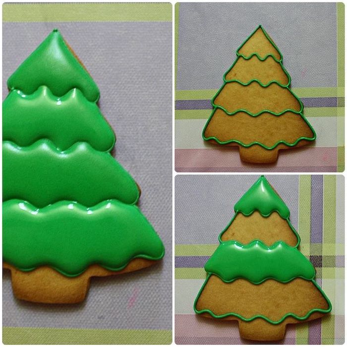 christmas tree shaped cookie, step by step diy tutorial, royal icing christmas cookies, decorated with green icing