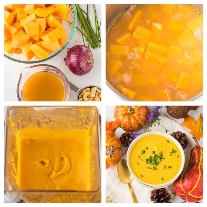 how to make pumpkin soup, photo collage, step by step diy tutorial, cream of chicken soup recipe