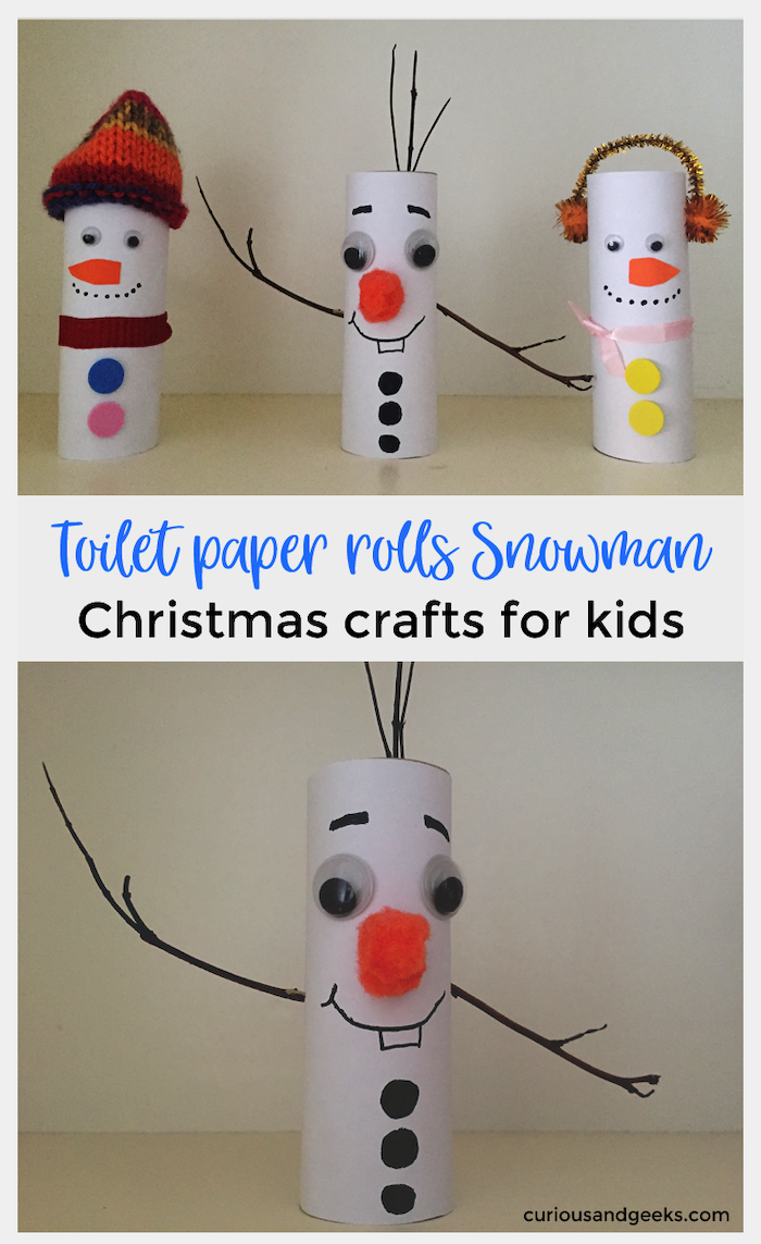 toilet paper rolls snowman, how to make ornaments, photo collage of step by step tutorials