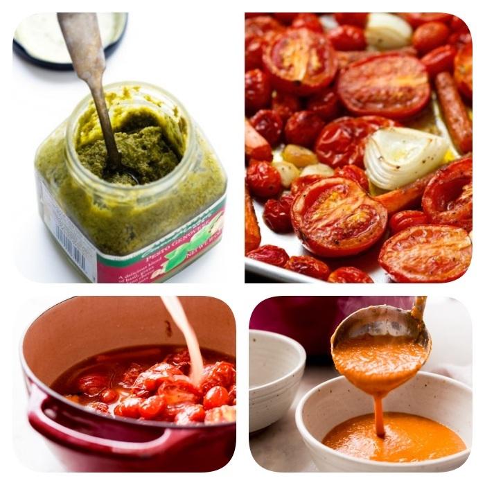 step by step diy tutorial, tomato soup with pesto sauce, cream of mushroom soup recipe, jar of pesto, white bowls