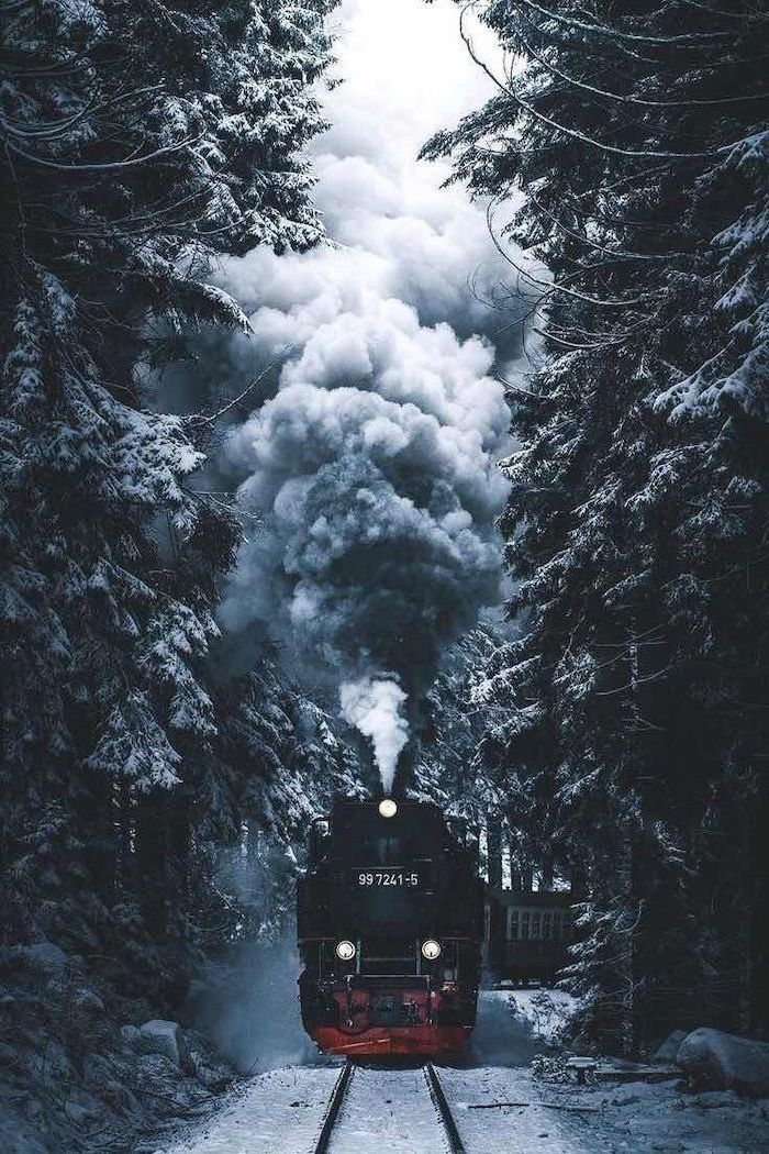 steam train going through a forest, tall trees on both sides of the rail road, covered with snow, desktop backgrounds