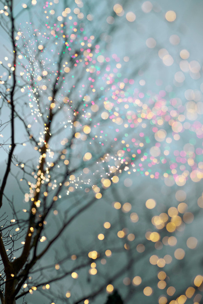 winter wallpaper iphone, tree branches intertwined with lights, blurred lights in the background