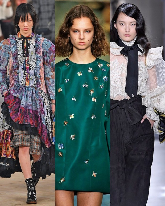 side by side photos of three women, wearing different outfits, walking down the runway, 2019 style trends