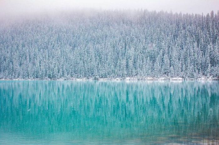 turquoise lake, surrounded by tall trees, covered with snow, laptop wallpaper, fog over the trees and lake