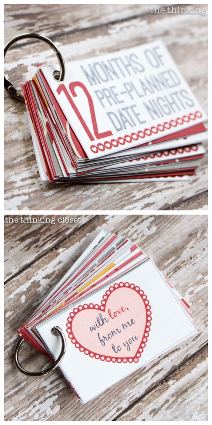 gifts for boyfriend, 12 months of pre-planned date nights, small flip book, placed on wooden surface, step by step diy tutorial